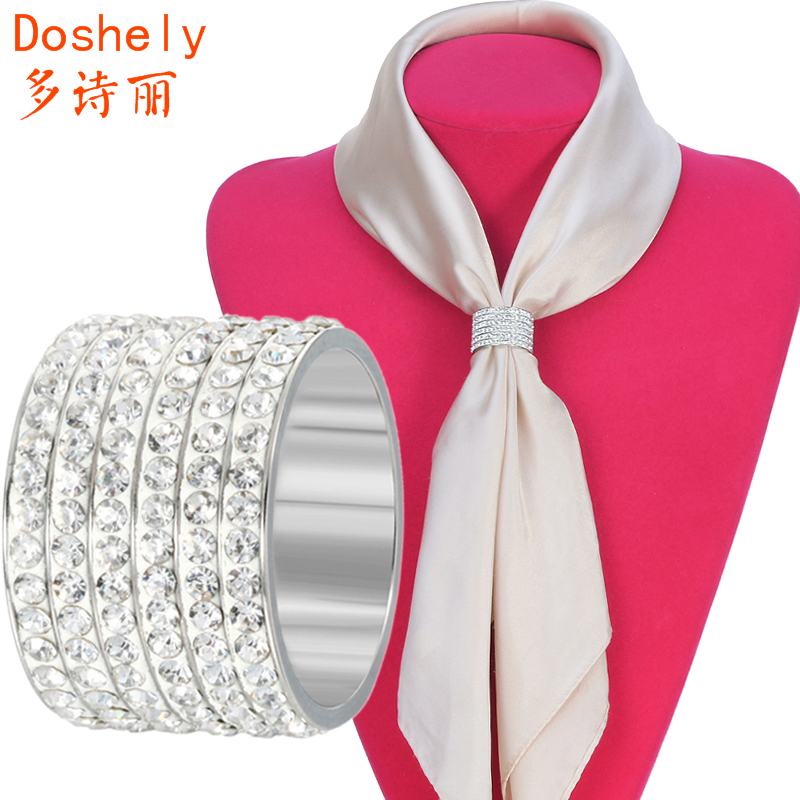 Fashion luxury Women jewelry accessories Silver plated Czech diamond Carriage H Brooch Shawl Scarves Scarf buckle Clips Cylinder(China (Mainland))