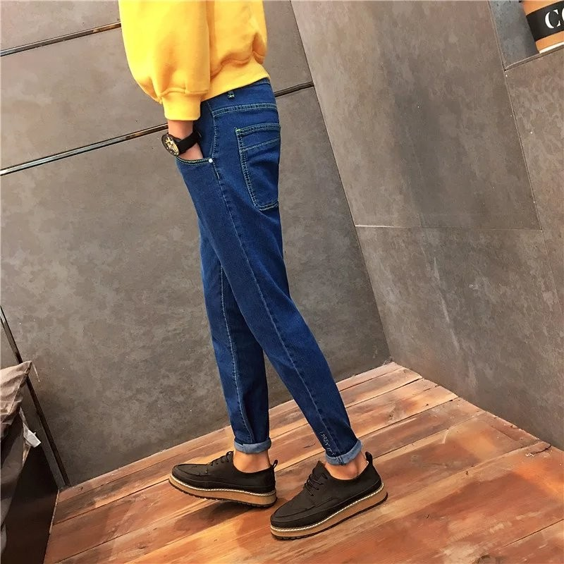Winter Japanese embroidery jeans young slim feet elastic student leisure male trousers skinny design  hot sale  DY99