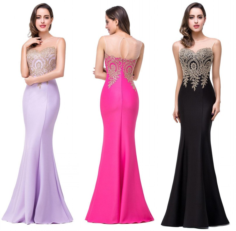 Gold Appliques Women Formal Black Long Mermaid Evening Dresses 2016 See Through Neck Lavender Long Prom Dresses vestido de festa(China (Mainland))