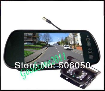 "Car Rear View Back up Camera 18 IR Night  Waterproof  Camera + 7"" Mirror monitor+parking assistance Rearview kits +10m cable"
