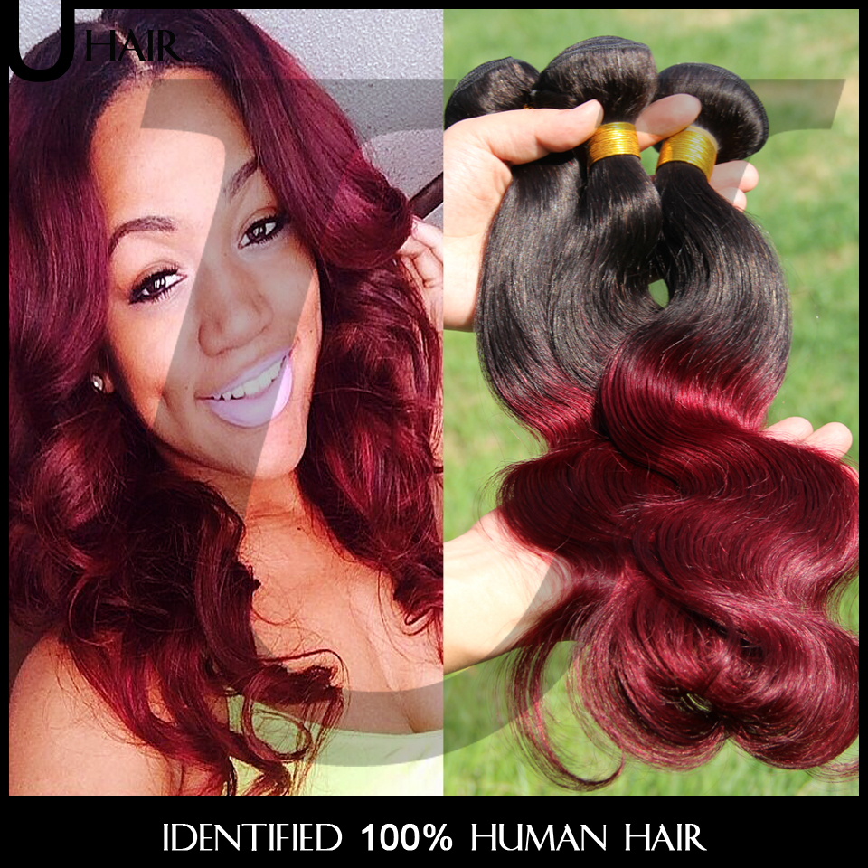Malaysian Ombre Virgin Hair Body Wave Ombre Hair Extensions 3PCS Ombre Wavy Human Hair 10-30 Two Tone Red Wine Hair Weave 4BC33