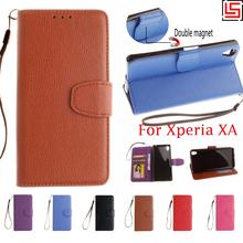 Best Cheap New Luxury PU Leather Flip Wallet Stand Wallt Phone Case etui Cover Cove Sony Xperia Experi XA Purple Rose - tenoch commercial store