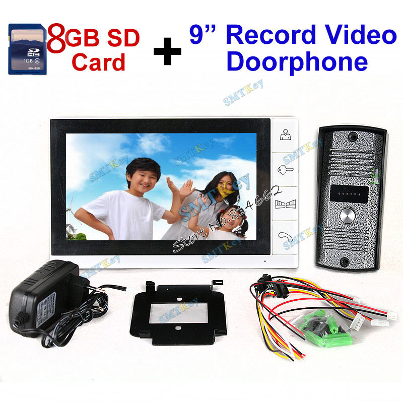 Upgraded version support standby 9 inch color lcd monitor +8GB SD Card Video Record Door Phone intercom System with IR camera(China (Mainland))