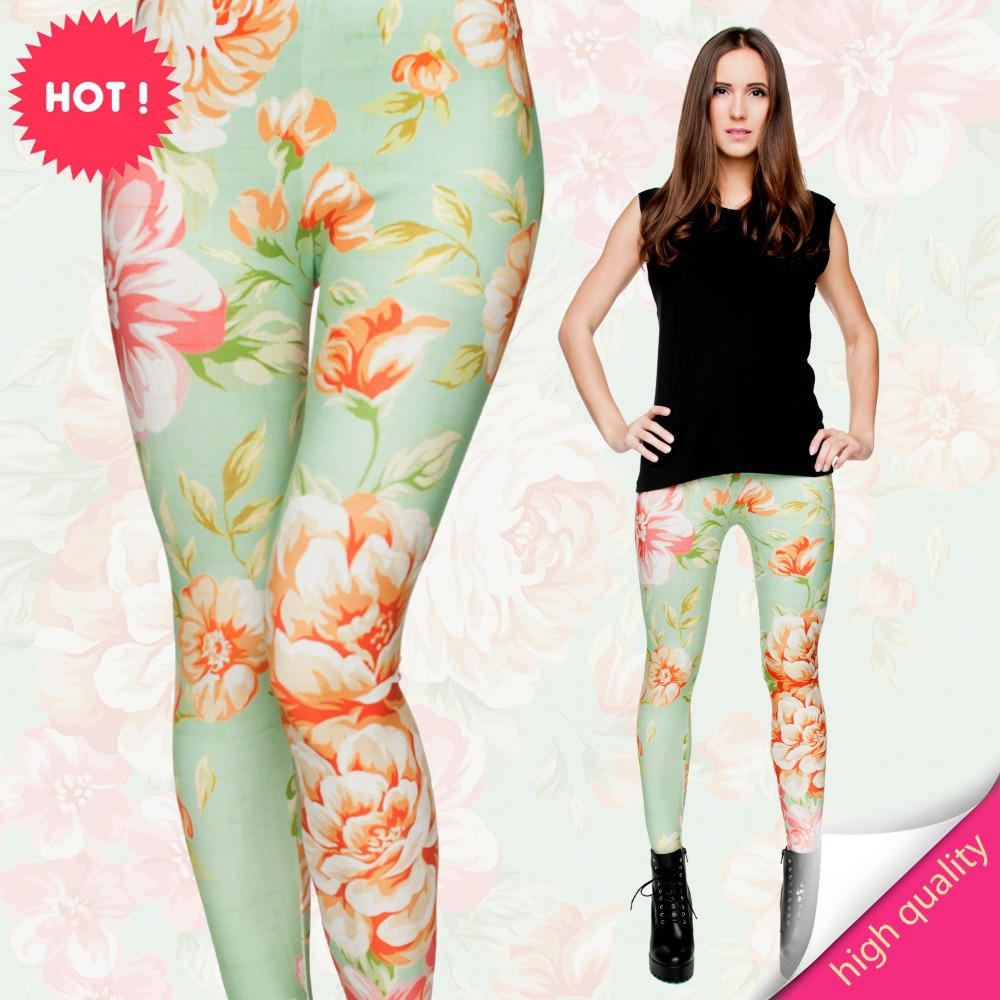 2015 3d print leggings women fashion summer style black milk punk rock adventure Mint Green floral pattern calzas leggins - PPT professional tops store