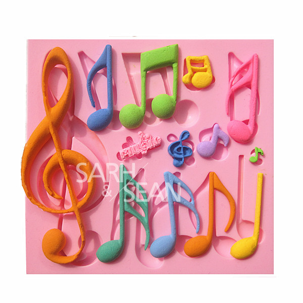 M0898 Lovely Music Colorful Notes of different Shapes and Sizes Fondant Cake Mold Chocolate Mold for Kitchen Baking Cake Tool(China (Mainland))