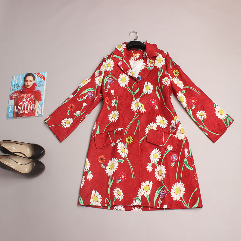 Novelty Coat New 2016 Spring Fashion Women Brand Runway Full Sleeve Red Long Turn-down Collar Print Flowers Casual Coat Одежда и ак�е��уары<br><br><br>Aliexpress