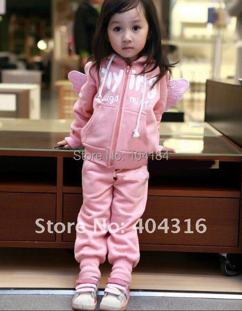 New Autumn Chidren clothing set feather wings Cartoon clothing 1set/lot Baby clothing sets(China (Mainland))