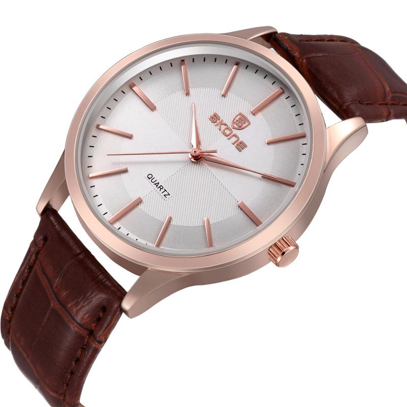 100% Original Brand Skone Quartz Watches Men Stainless Steel Case Women Waterproof PU Leather Strap Wristwatch SK-9343(China (Mainland))
