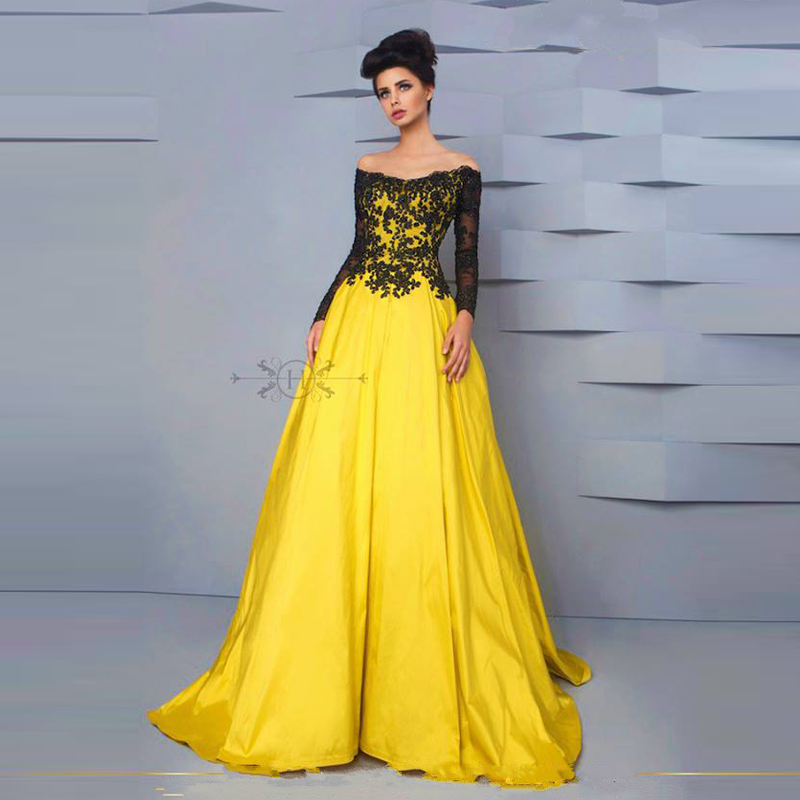Yellow Evening Gowns Black and yellow dress...
