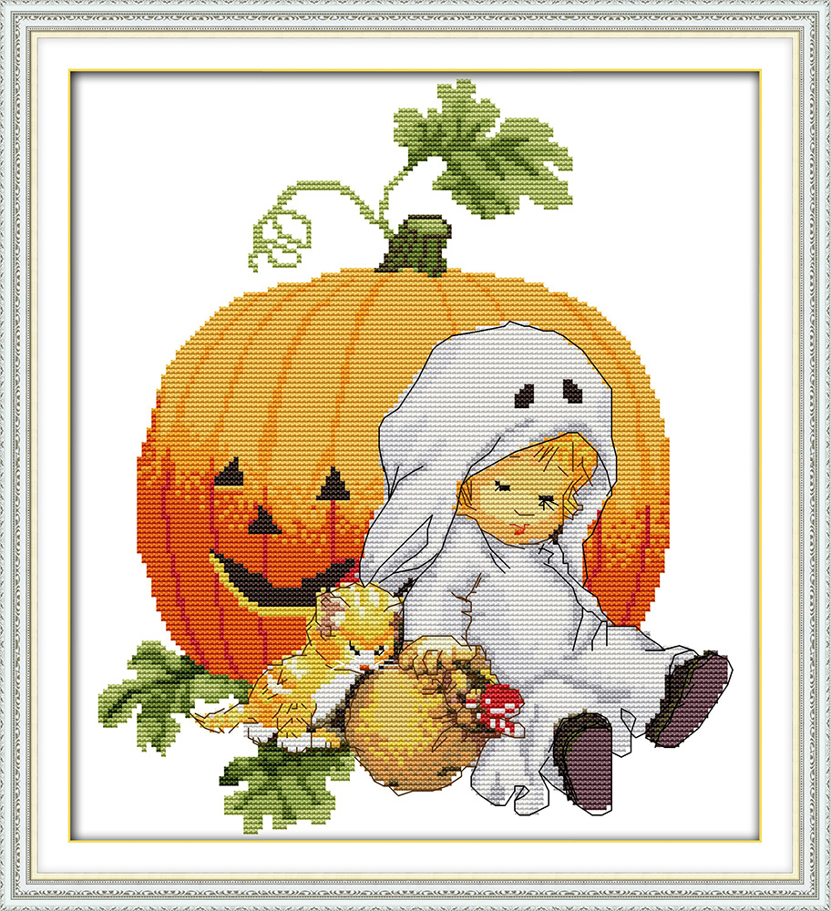 Halloween Cartoon DMC Art Crafts Cross Stitch Kits Cotton 11CT 100% Printed Embroidery DIY Handmade Needlework Craft Home Decor(China (Mainland))
