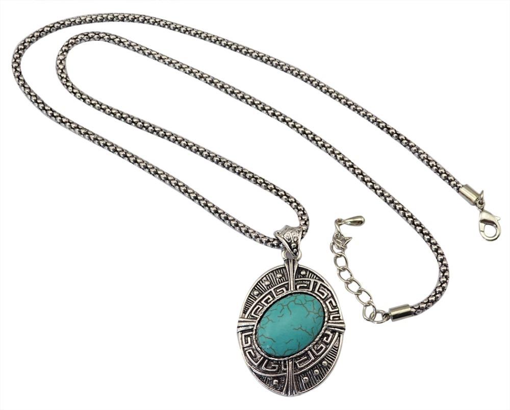 Aliexpress.com Comprar Boho Chic serpiente cadena de plata grande piedra de la turquesa collares pendientes Bisuteria Mujer Vintage Colar collar bohemio de