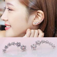 Real Pure Solid 925 Sterling Silver Stud Earrings for Women Fine Jewelry Ear Cuff Cubic Zircon Diamond Fashion Femme Bijoux