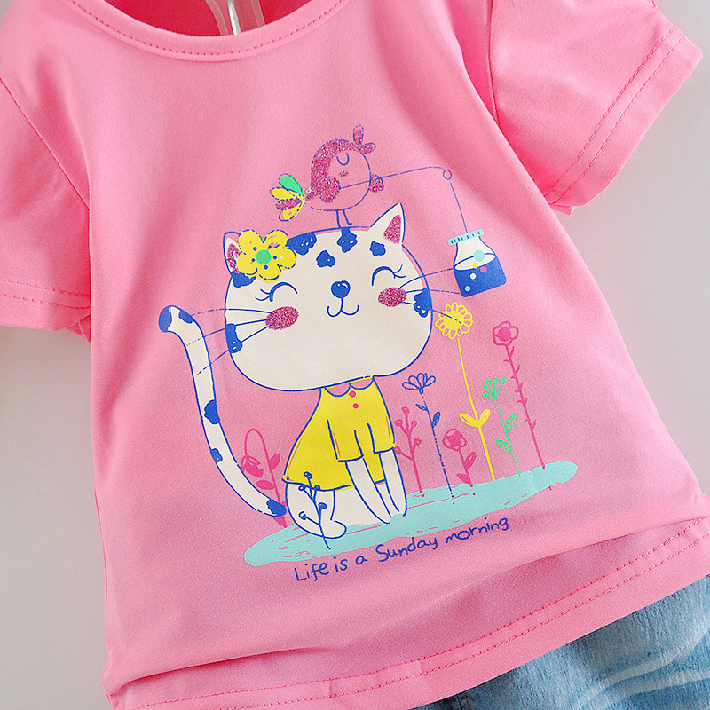 2016 summer girls sets cat printed short-sleeved T-shirts+jeans pants two-piece suit 1-2-3-4 years