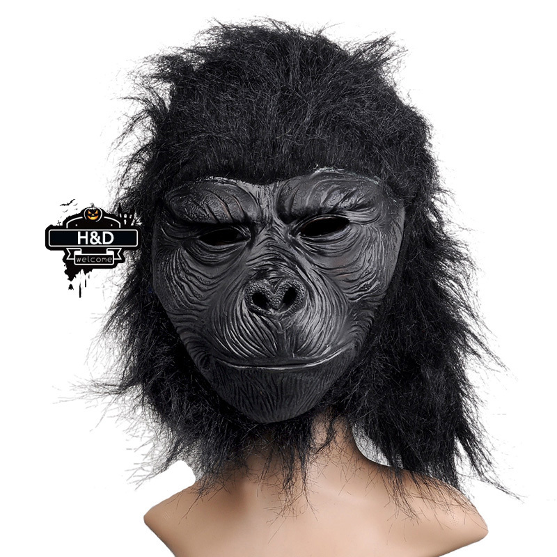 Full Face Cosplay Black Gorilla Mask Horror Masquerade Adult Ghost Mask Halloween Props Costumes Fancy Dress Carnival Parties(China (Mainland))