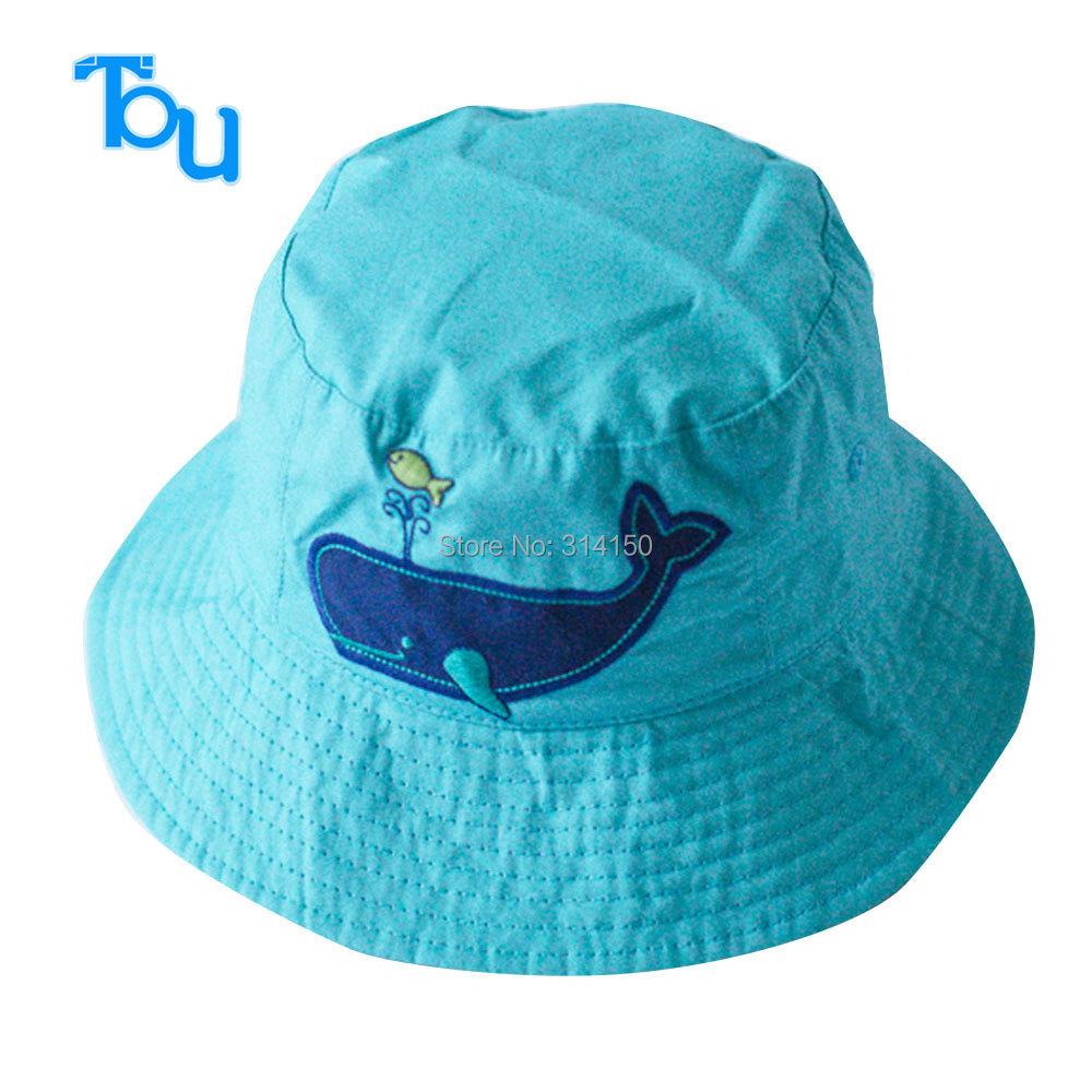 TOU free shipping baby lovely shark sunhat kids fashion cotton visor baby boy 's Fashion Knitted Reversible hat bucket cap 1pc(China (Mainland))