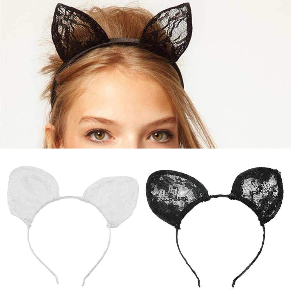 Lovely Sexy Lace Cat Ears Hairband Cosplay Fancy Dress Costume Headband Party - Mary's 2015 store