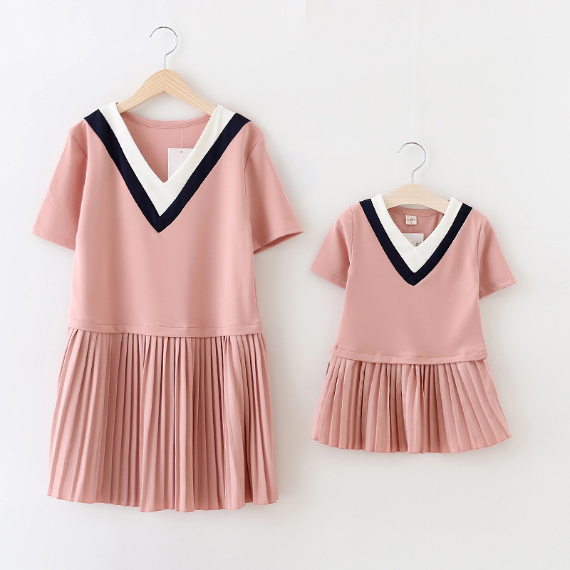 designer mother daughter dresses cotton solid matching mother daughter clothes princess summer matching dresses for mum and me(China (Mainland))