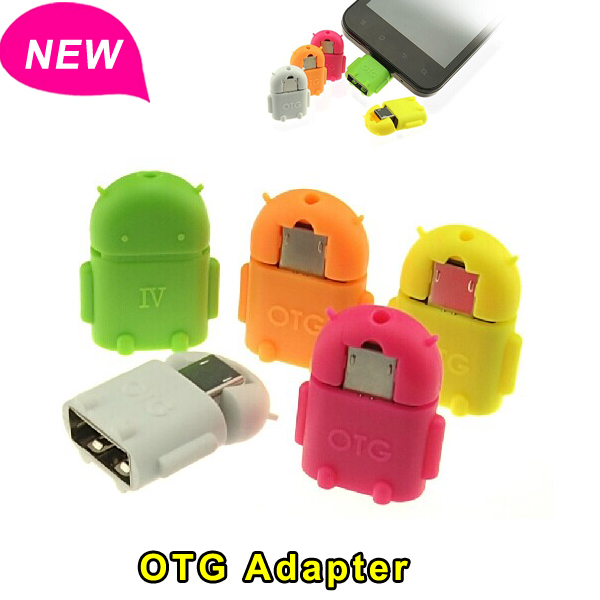 For Android Robot Shape Micro Mini USB OTG Adapter Converter 2.0 For Samsung Xiaomi Tablet PC Connect To U Flash Mouse Keyboard(China (Mainland))
