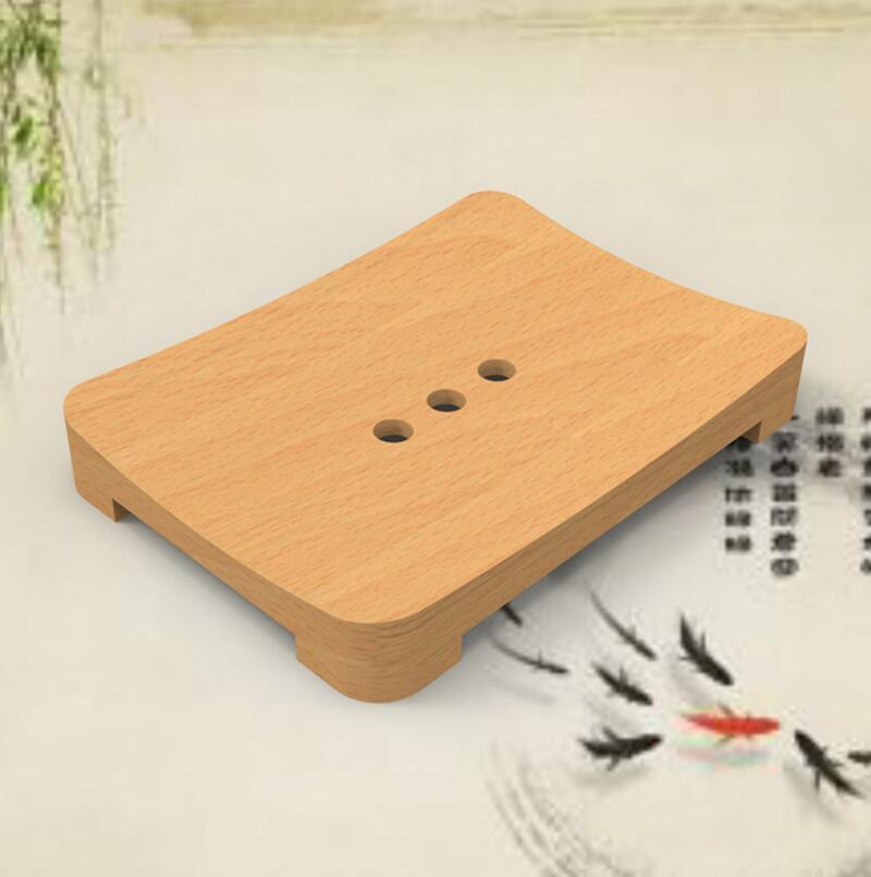 Retro Carbonization Square-shape Beech Wood Soap Box Handmade Travel Soap Box. FH-10431