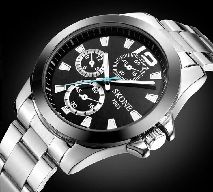 Brand Original Skone Watch 7063 Men Fashion Sports Watch Stainless Steel Quartz Wristwatch Relogio Masculino(China (Mainland))