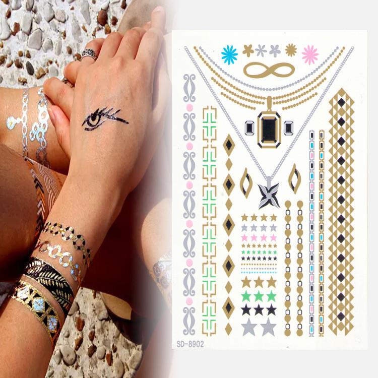 2015 Hot Sale High Quality Four Star Black Diamond Necklace Tattoo Stickers/Tattoo Symbol/Fashion/China Beauty Supply(China (Mainland))