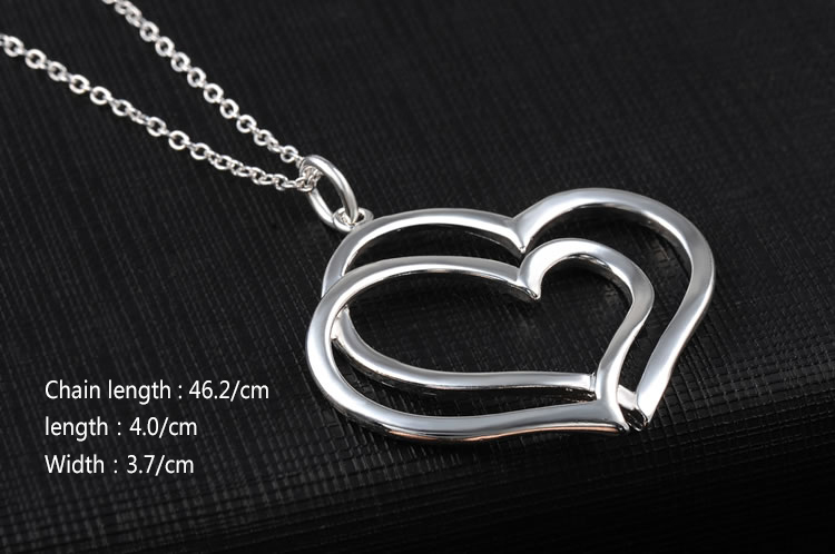 Silver Christmas gift pendant necklace high quality silver double Heart necklace fashion neckalce Silver jewelry Wedding