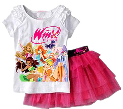 2016 New Girls Clothing Set T shirt + Skirt 2Pcs Suits Winx Club Cartoon Kids Set Children's clothes Free shipping(China (Mainland))