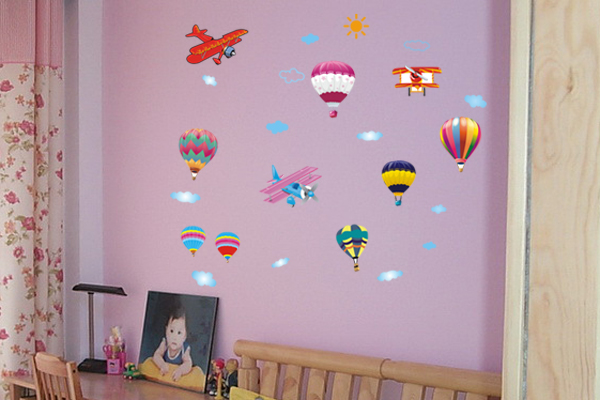 DIY Cartoon Air Balloon Helicopter Art Wall Stickers Kids Boy Removable Living Room Children Vinyl Decoration Home Decor Mural(China (Mainland))
