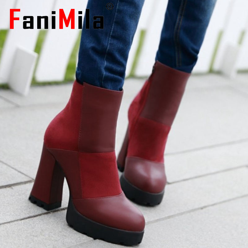 CooLcept Free shipping ankle high heel short boots women snow fashion winter warm boot footwear P15445 EUR size 34-39<br><br>Aliexpress