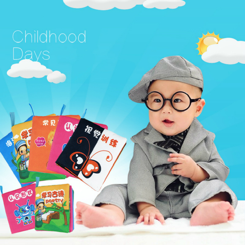 JJOVCE Soft Cloth Baby Boys Girls Books Rustle Sound Infant Educational Stroller Rattle Toys 1 PC 6 Pages(China (Mainland))