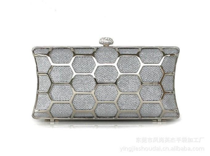 2016 Ladies Metal Hollow Out Evening Bag Women Rhinestone Day Clutch Cosmetics Purse Wedding Party Dinner Handbag Bolsa Mx116