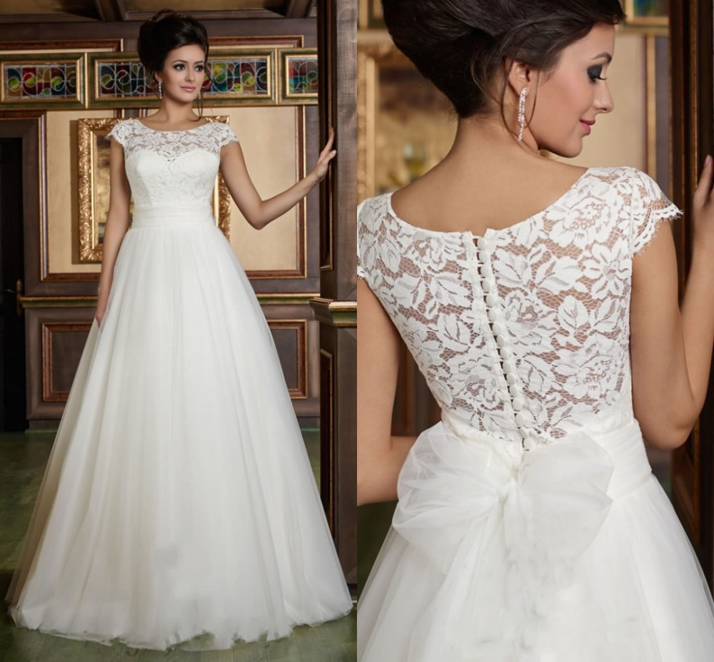 Elegant white a line wedding dresses appliques back big for Big white wedding dresses