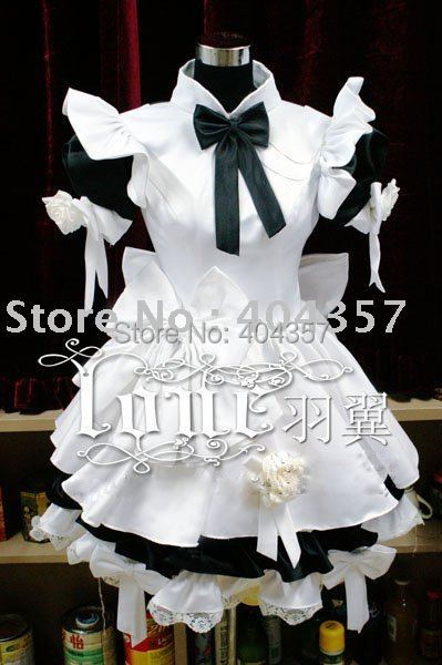 Gothic Lolita Cosplay Costume Home Maid Sissy Dress White with Black Custom