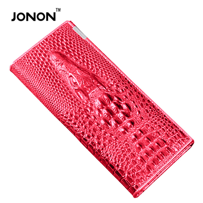 2016 3D Crocodile Grain Women Long Wallets Genuine Leather Embossed Design Draw-out Type Female Wallet Clutch Purses Carteira(China (Mainland))