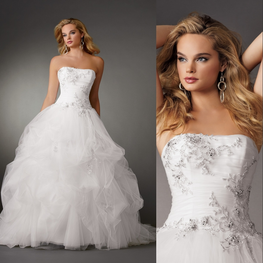 Fashion strapless flower beading ball gown designer bridal for Designer ball gown wedding dresses