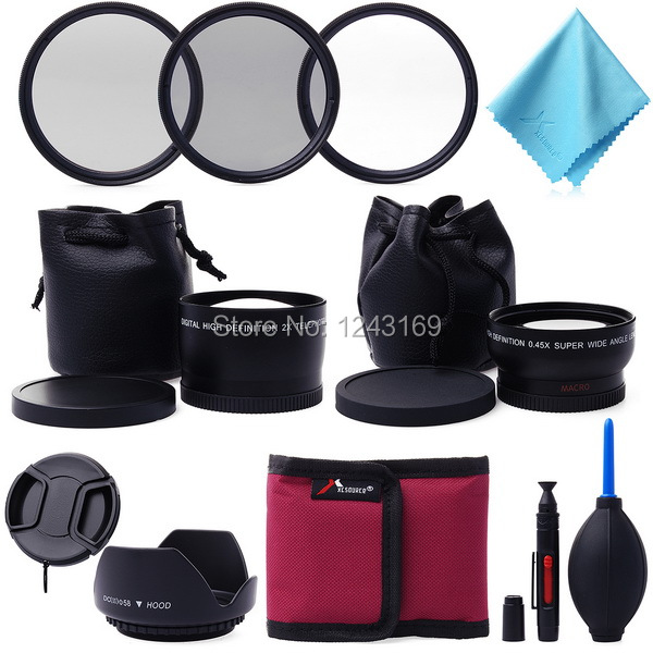11in1 58mm Wide Angle Telephoto Lens + CPL Lens + UV ND4 Filter Set Kit For Canon Digital Camera LF420(China (Mainland))