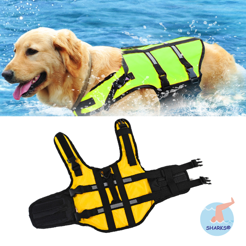 2015 New Fashion Dog Float Life Vest Reflective strip Jacket Aquatic Safety Saver Swimming Boating life vest for dogs S M L(China (Mainland))