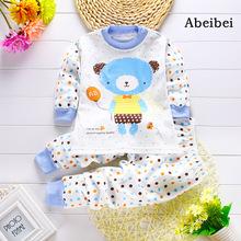 2 unids/set Recién Nacido Ropa de Bebé Conjuntos para 7-24 M niños Ropa de Marca 100% de Algodón de manga larga camisa de la base las camisetas pijamas osos