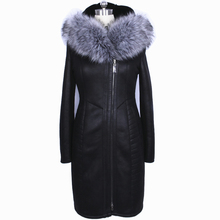 Factory Direct Supplier Collar Fox Fur Women Coat Winter Fashion Sheepskin Faux Slim Hooded Thickened Fur Suede Bust 142Cm New(China (Mainland))