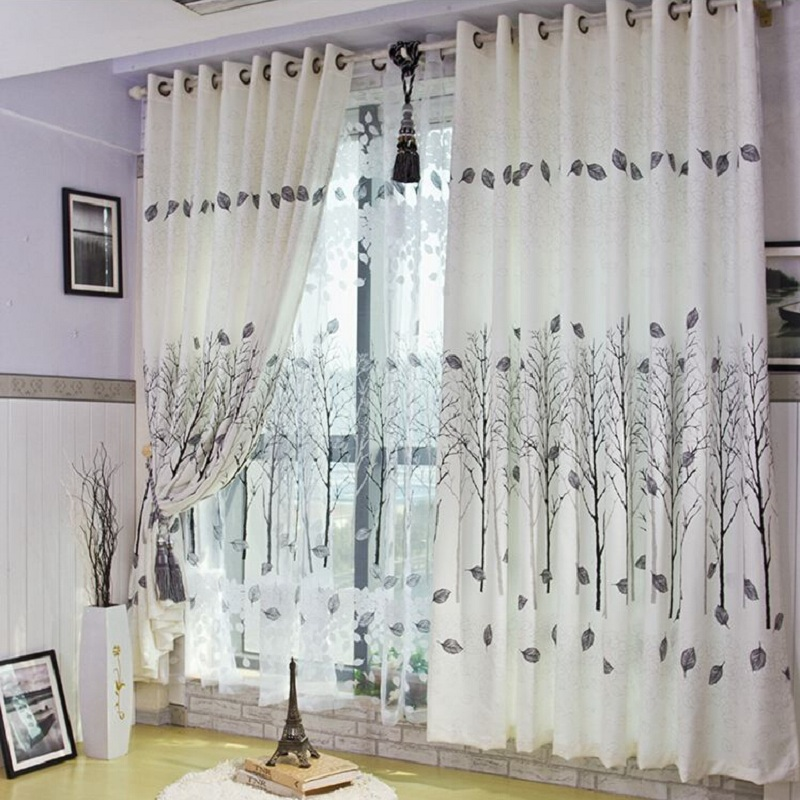 For living room bedroom kitchen room cafe office window curtains high quality thisck cloth thin voile trees pattern DS032#30(China (Mainland))