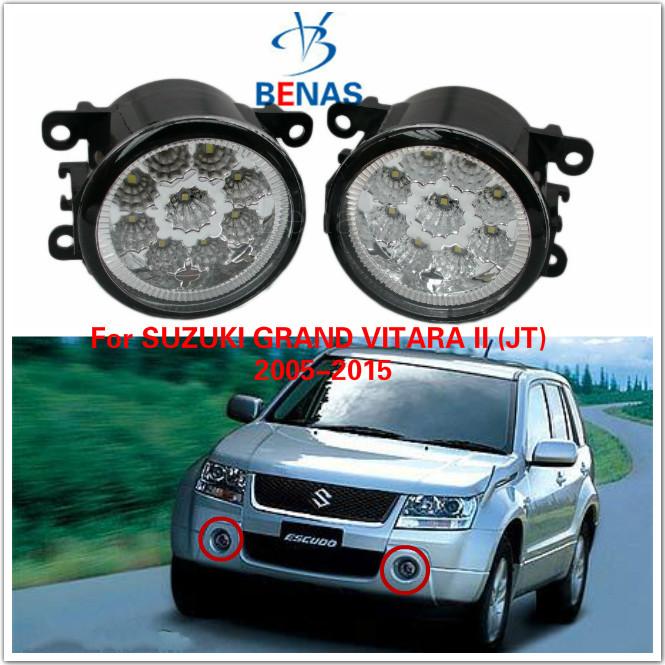 For SUZUKI GRAND VITARA II (JT)  2005-2015 Car styling LED fog lightsHigh Brightness front bumper fog lighs Gray Covers 1209177