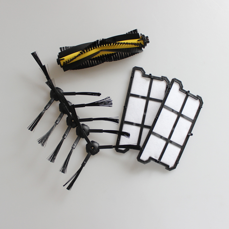 2x Dust HEPA Filter+1x Agitator Brush+4x Side Brush kit for Ecovacs Deebot Deepoo CR130,plus CR131,L CEN640,ilife v7 chuwi v7