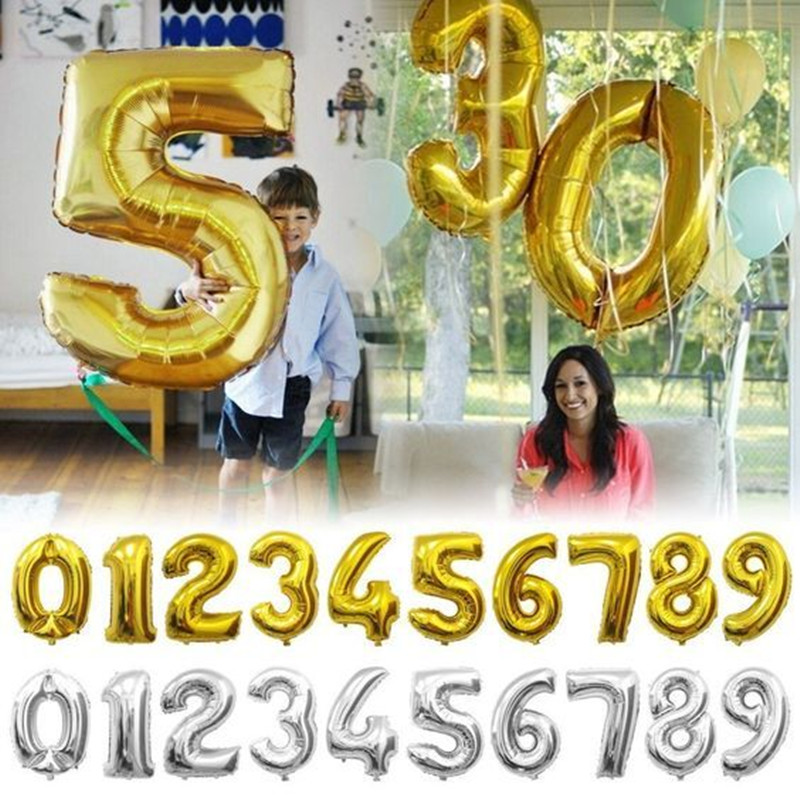 32 Inch Golden Silver Helium Foil balloons Number Birthday Party Wedding Decor Air Baloons Event Party Supplies(China (Mainland))