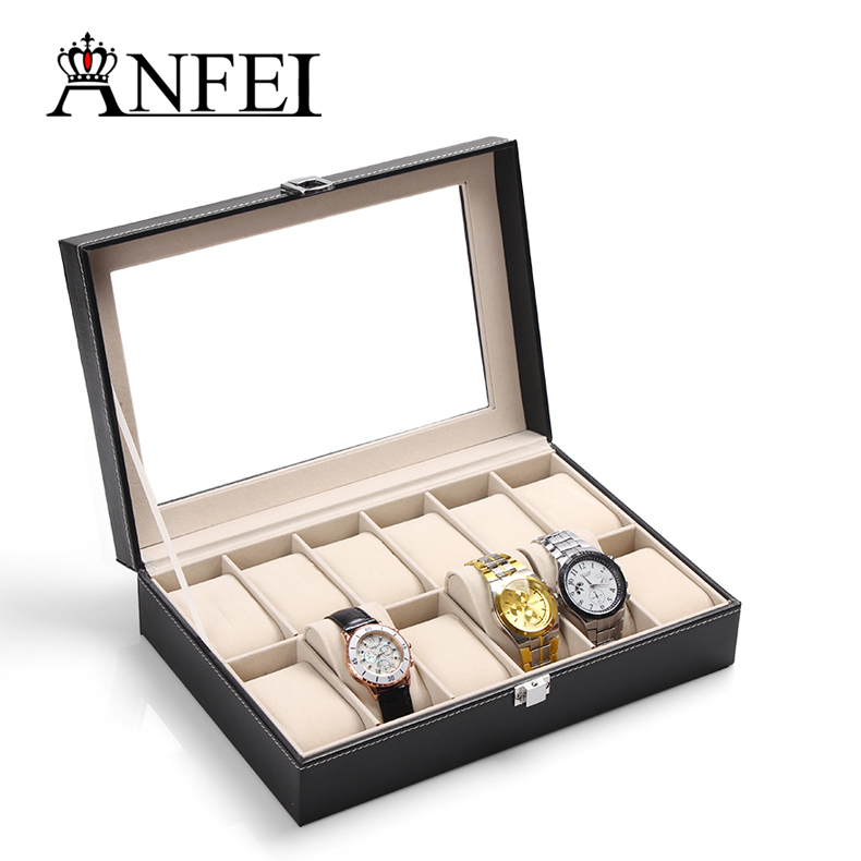 12 Grid Slots PU leather watch holder Case Jewelry Storage box Wrist Watch Boxes with glass cover best birthday gift for man(China (Mainland))