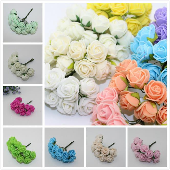 2016 New 2.5CM Multicolor PE Rose Foam Mini Flower Bouquet Solid Color/wedding decoration Romantic (12pcs/lot) 5Z-HD009-1(China (Mainland))