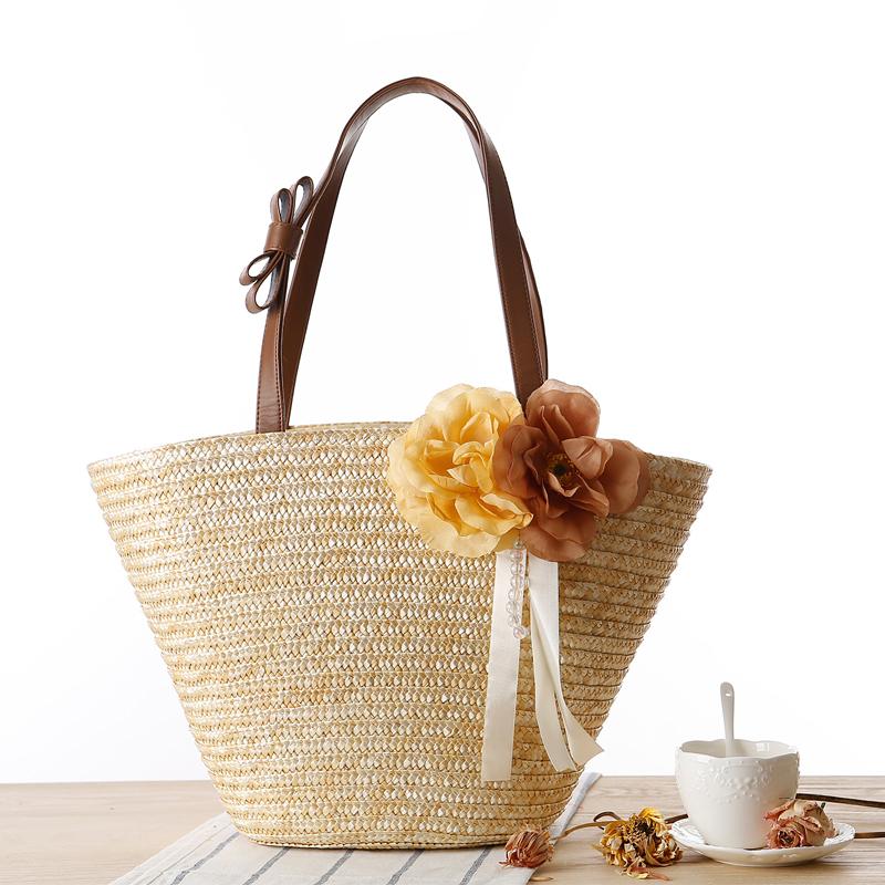 2015 Fashion Nice Straw Handbags New Women Style Straw Summer Beach Tote Big Shoulder Bag Purse Handbag Straw Beach Bag(China (Mainland))