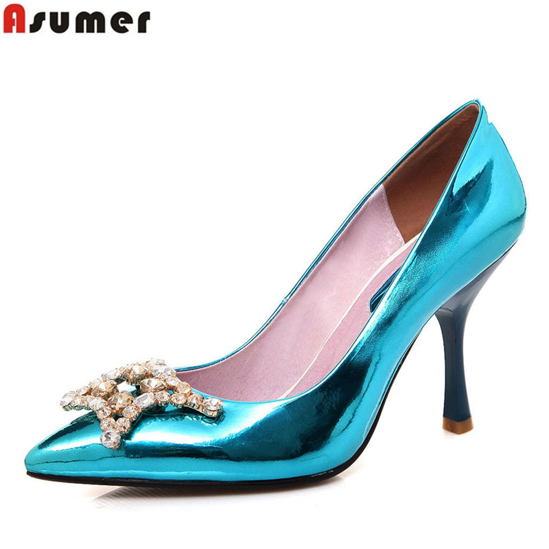 new arrival 2016 fashion rhinestone women pumps thin heels slip-on pointed toe high quality pu blue purple party shoes woman<br><br>Aliexpress