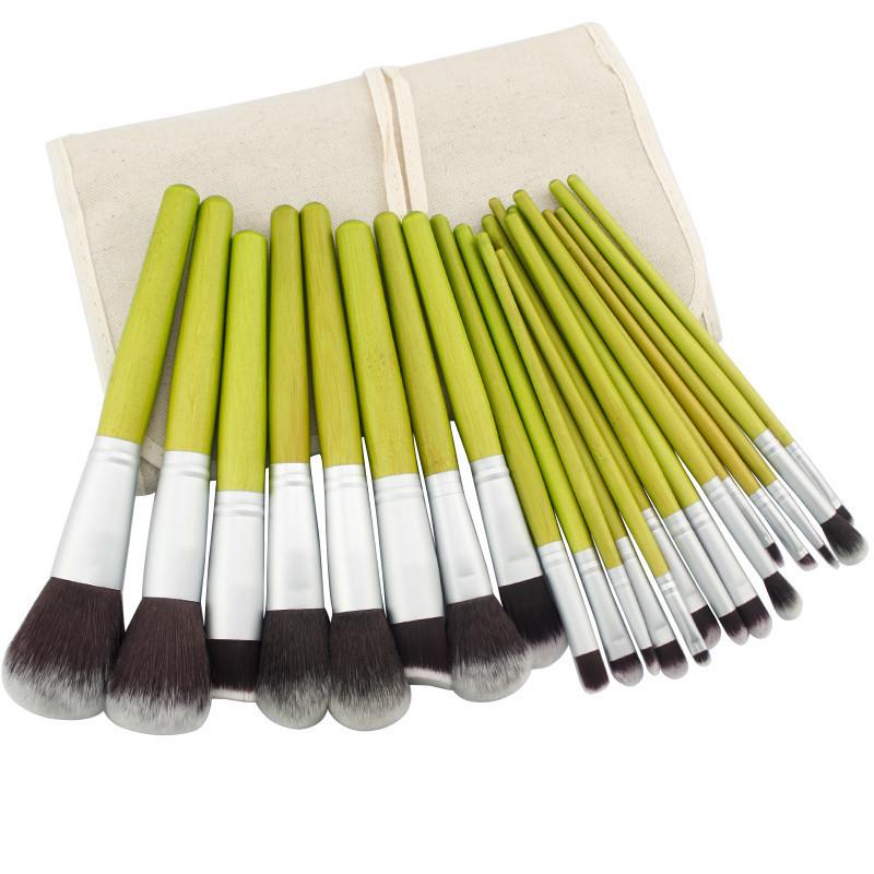 New Professional 23 Pcs Makeup Brush Set Cosmetic Kit Bamboo Handle Foundation Powder Make up Brush Beauty Facial care+Bag(China (Mainland))