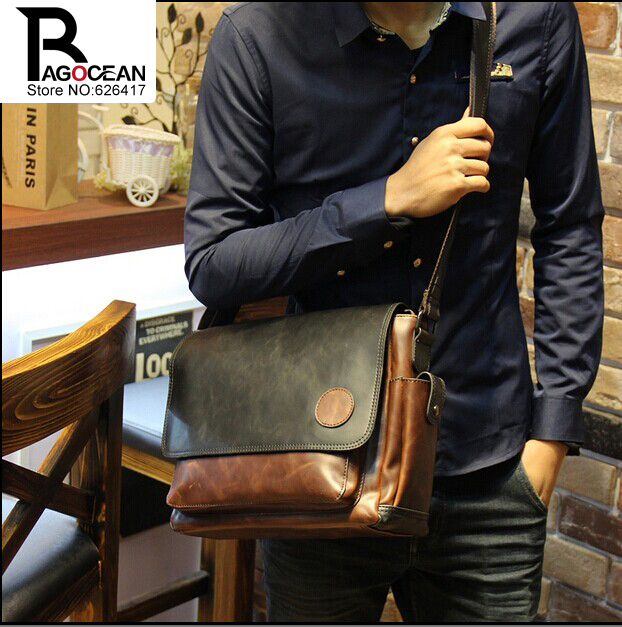 New Vintage Style Men Crazy Horse PU Leather Shoulder Travel Bags Cross Body Messenger Bags School Bag Fitness Sports Bags(China (Mainland))