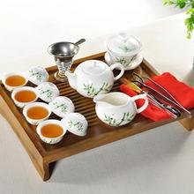 Free Shipping Chinese Kung Fu Porcelain tea set Yixing Puple Clay Teapot Solid Wood Tea Tray